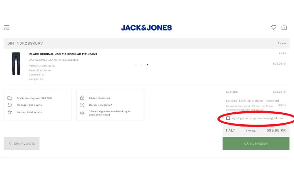 Sådan bruger man en rabatkode fra Jack & Jones